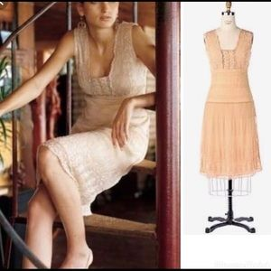 Anthropologie odille Peach Beaded Dress Size 4